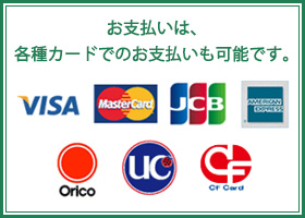 お支払いは、各種カードでのお支払いも可能です。